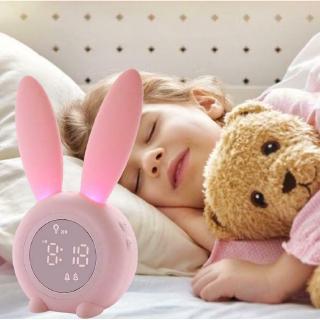 Đồng hồ báo thức hình con thỏ hoạt hình có đèn LED