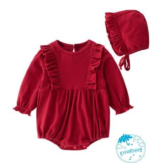 ☀Sun❤Baby´s Long Sleeve Onesie Bodysuit Infant Romper Solid Color Jumpsuit with Separated Hat