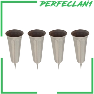 [PERFECLAN1] 4Pcs Stake In Ground Flower Vases Container Holder