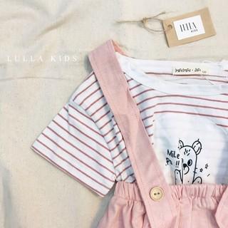 """Set yếm linen màu hồng cam vintage """"Chiếc kẹo ngọt ngào"""" dành cho bé gái (Sale đặc biệt 99k / set)"""
