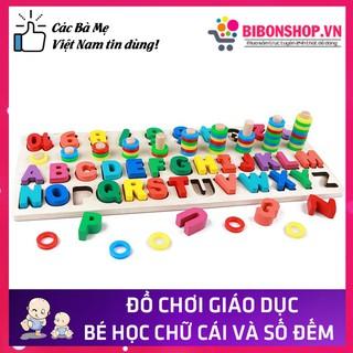 Bảng Chữ Cái Và Số Đếm Đa Năng Bằng Gỗ Cho Bé Học Theo Phương Pháp Montessori