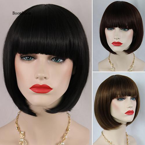 BOOM_Women's Fashion Short Straight Bobo with Bangs Full Wig Cosplay Party Extension