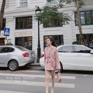 Áo vest hồng khuy nổi nữ tính