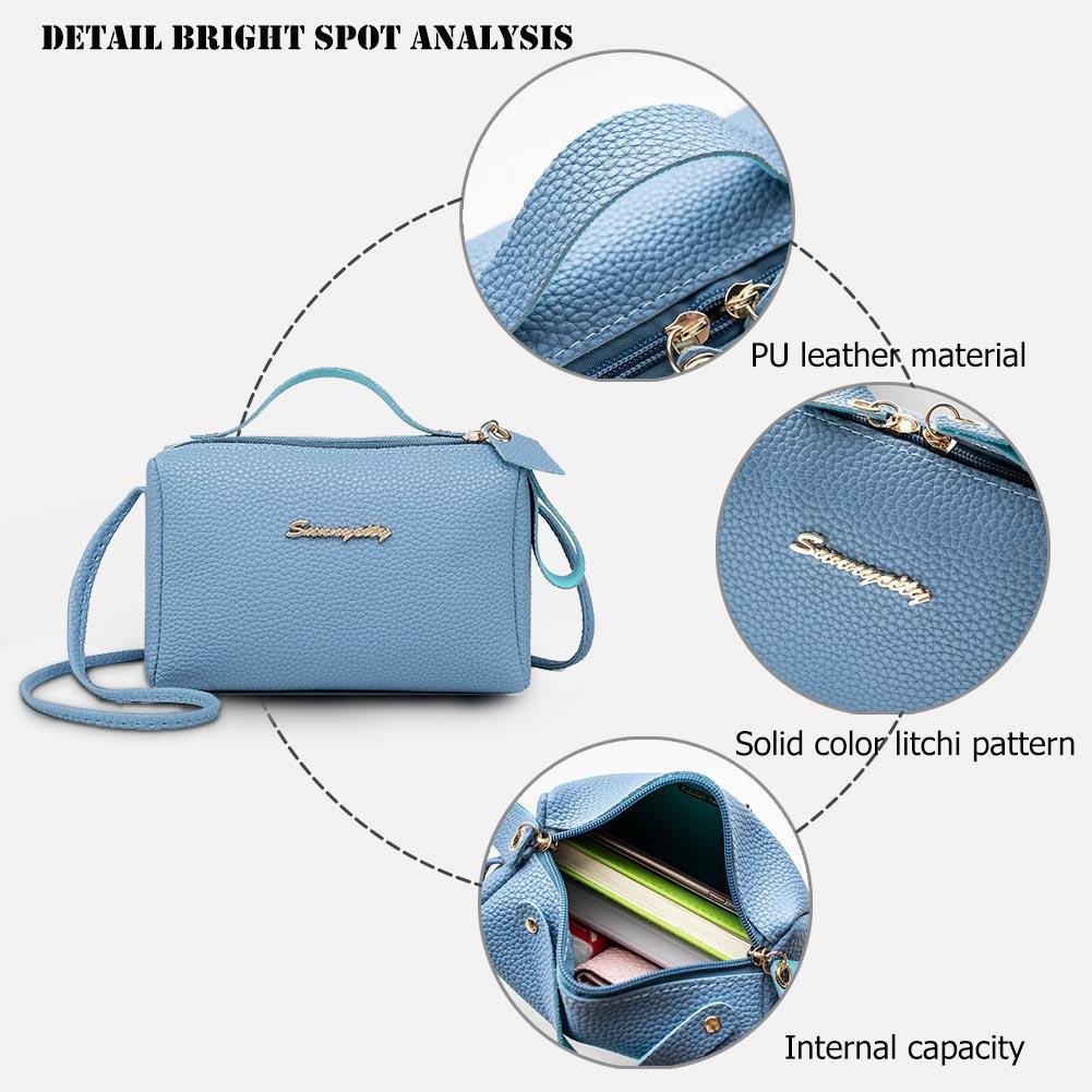 Square Litchi Pattern Shoulder Handbags Women PU Leather Messenger Bags