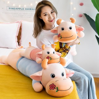 Rose flower cow plush toy super soft bed lazy person sleeping pillow clip leg long pillow valentine gift girl