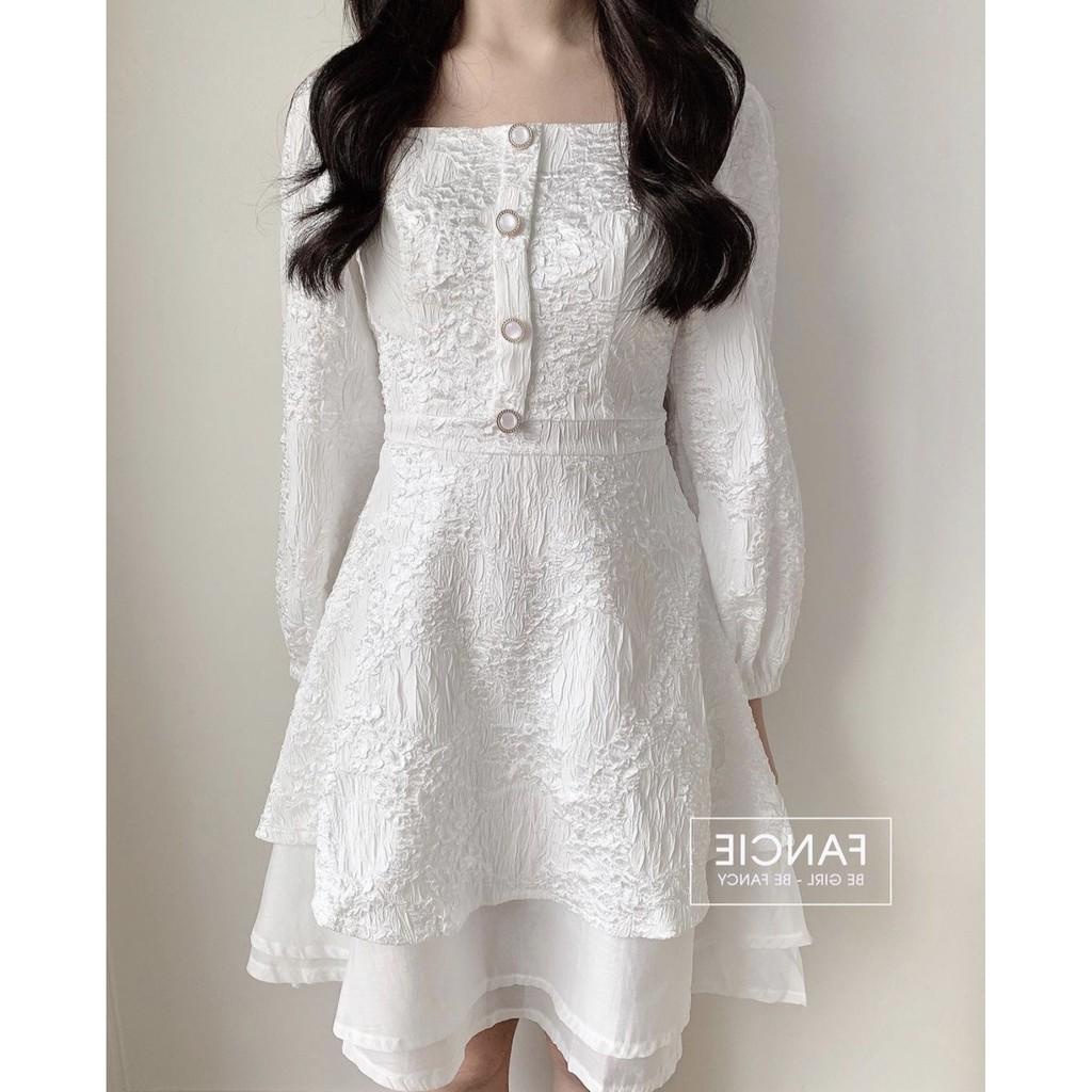 Mặc gì đẹp: Sang chảnh với [ảnh thật] Đầm nữ đầm dự tiệc vải gấm màu trắng dễ thương vải xịn thiết kế 3 tầng siêu xinh mã [GAM 3TANG]