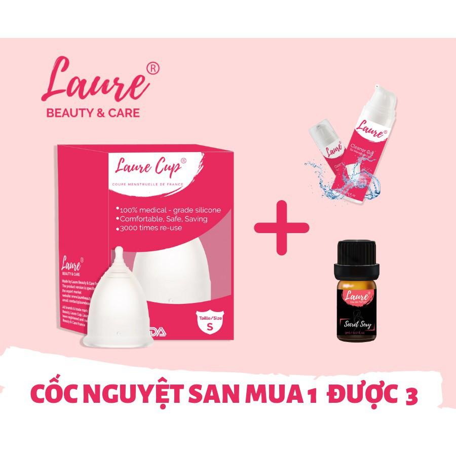 (PHÁP) Cốc nguyệt san Laure cup TẶNG 1 GEL RỮA, 1 CỐC TIỆT TRÙNG, 1 NƯỚC HOA VÙNG KÍN