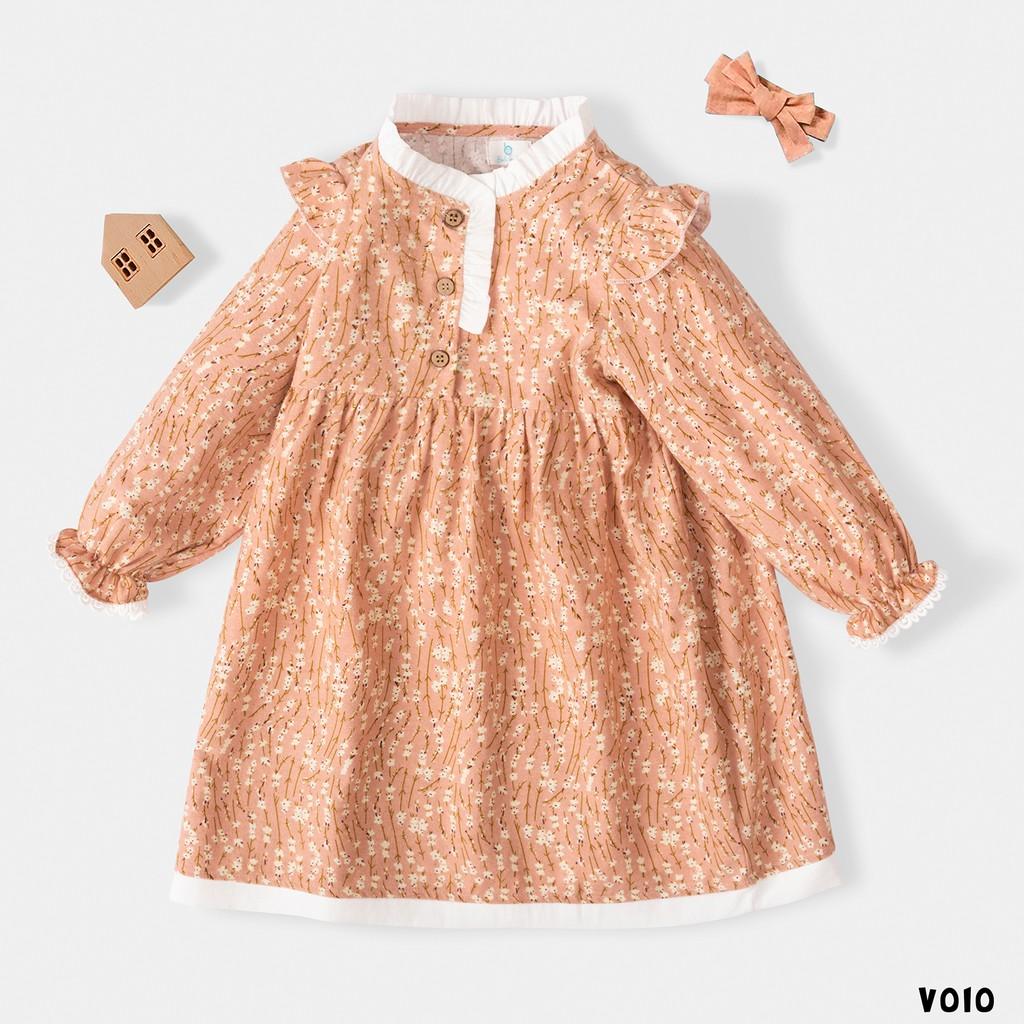 Váy Cho Bé Hoạ tiết Hoa Nhí Dài tay Xinh Xắn BELLO LAND