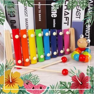 Combo đồ chơi: 1 Sâu gỗ uốn dẻo; 1 Đàn gỗ Xylophone 8 Quãng Cho Bé ( Loại Thường)