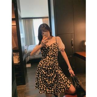 Set áo ngắn tay + đầm yếm họa tiết hoa cúc kiểu dáng thời trang dành cho nữ
