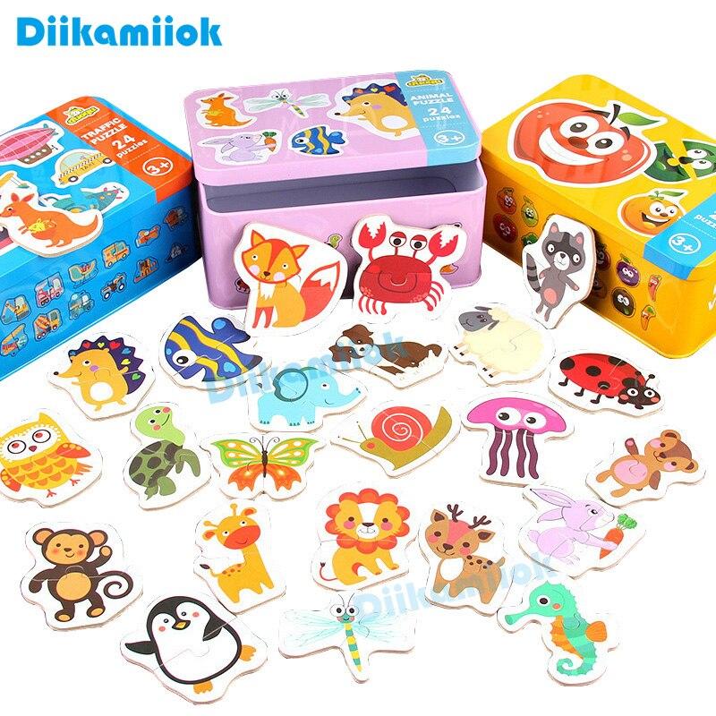 đồ chơi trẻ em Lắp Ráp Bằng Gỗ Hình Động Vật Trái Cây Hoạt Hình Giáo Dục Sớm Cho Bé