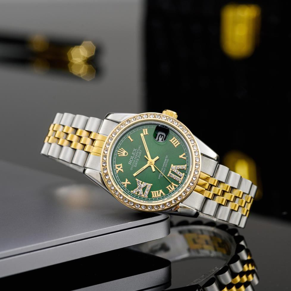 Đồng hồ nữ RL mặt tròn viền đá sang trọng, dây kim loại cao cấp DHN603 shop105