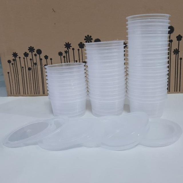 Hộp nhựa có nắp làm bánh flan, caramen, rau câu, sữa chua, đựng slime (đủ 3 size)