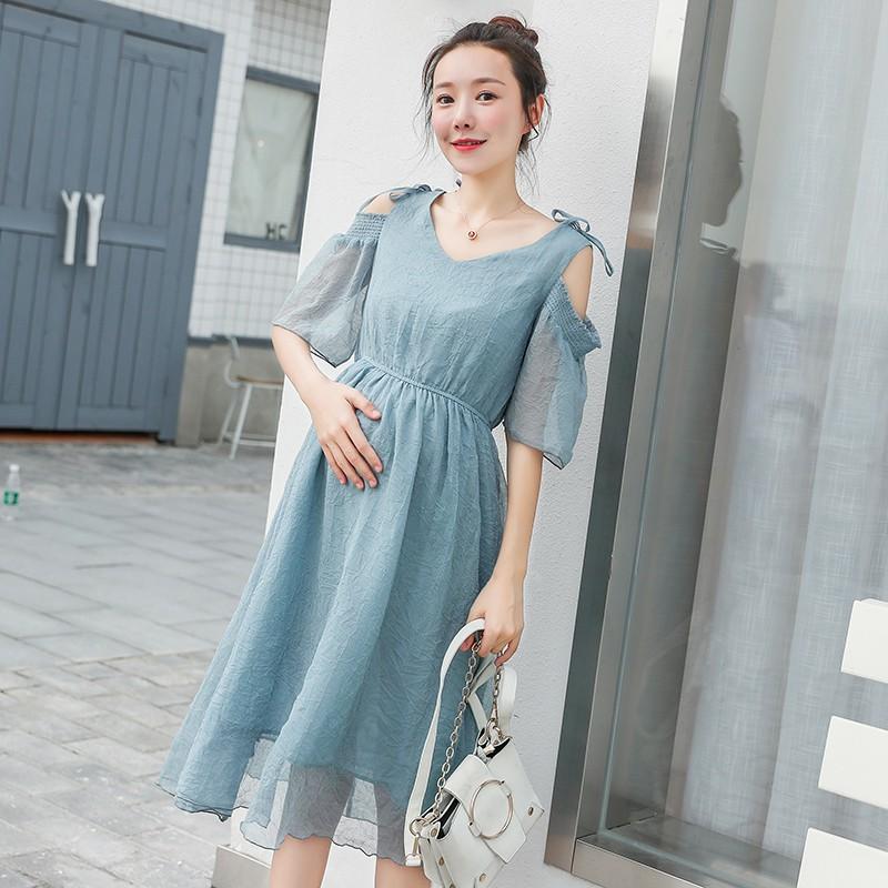 Đầm bầu , váy bầu hở vai trẻ trung dễ thương hiện đại thích hợp cho dạo phố mặc nhà du lichj xa
