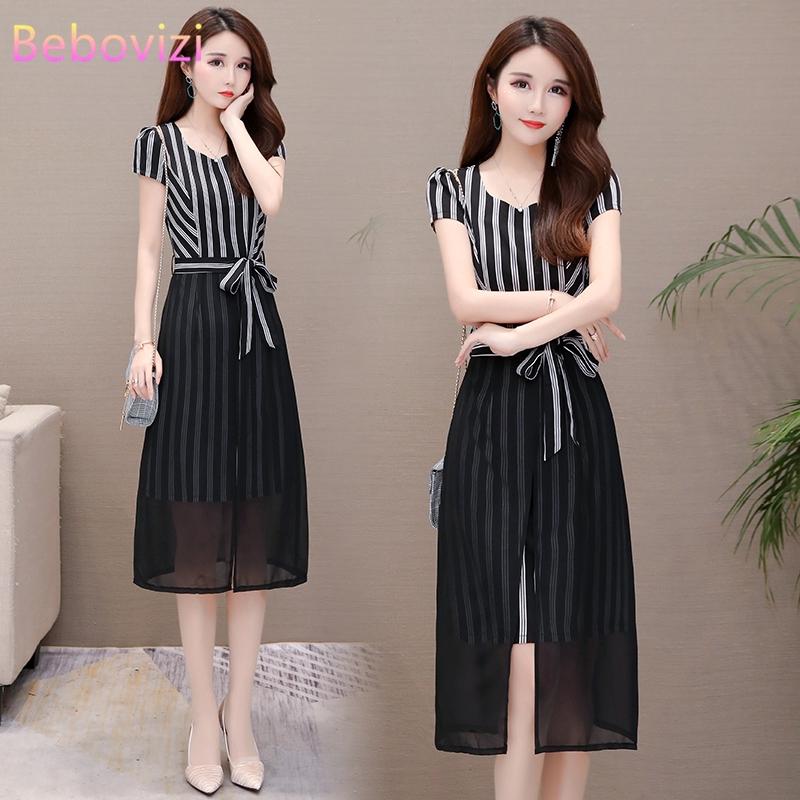 Plus Size 5XL Chiffon Stripe Stitching Dress Korean Fashion Party Prom Women Midi Dresses