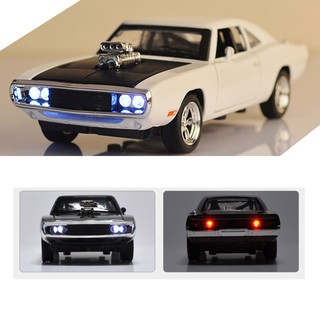 GENX✨ 1:32 Dodge Charger Diecast Metal Model Car Sound and Light Pull-back Vehicle Toy
