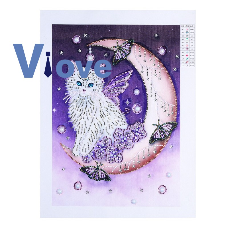Special Shaped Diamond Painting Cat Diy 5D Partial Drill Cross Stitch
