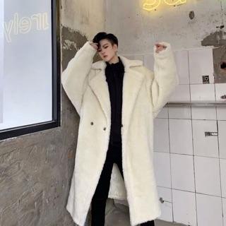 Áo choàng lông cừu nam dáng dài