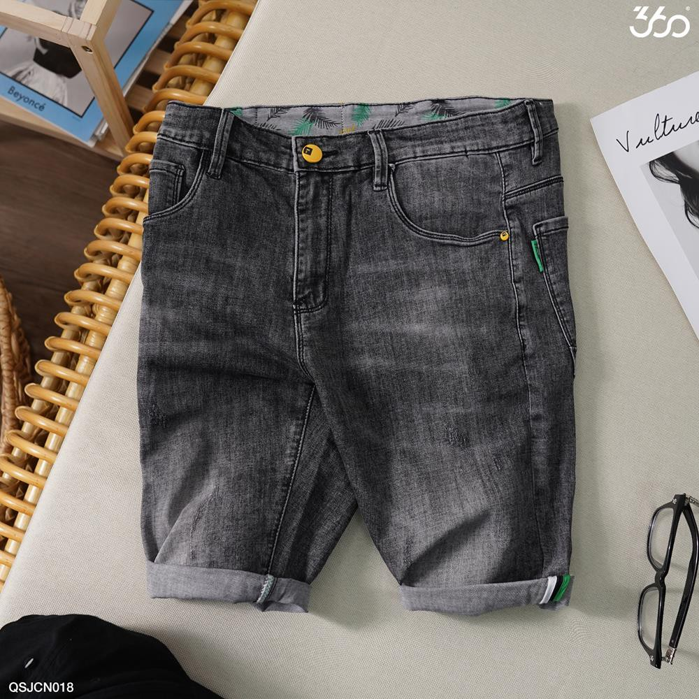 Quần short jeans nam 360 BOUTIQUE mài ngang màu xám - QSJCN018