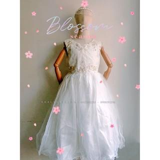 Đầm sát nách công chúa cao cấp, dạ hội, dự tiệc, bé gái 4 lớp voan kết ren phối lưới thêu hoa đính hột lấp lánh