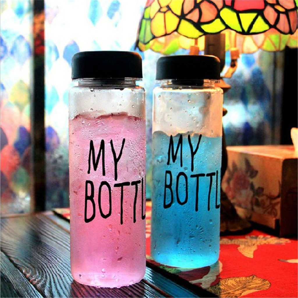 """Bình nước du lịch nhựa đựng ép trái cây in chữ """"My bottle"""""""