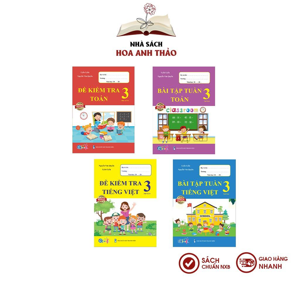 Sách - Bài tập tuần và đề kiểm tra Toán và Tiếng Việt lớp 3 học kỳ 2 Bộ 4 quyển - Combo 4 quyển