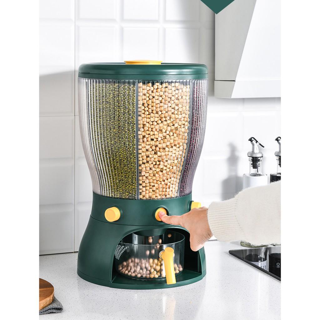 Thùng đựng gạo và ngũ cốc 4 ngăn thông minh dung tích 10kg - Có nút bấm dễ dàng để lấy gạo (loại mới 2021)