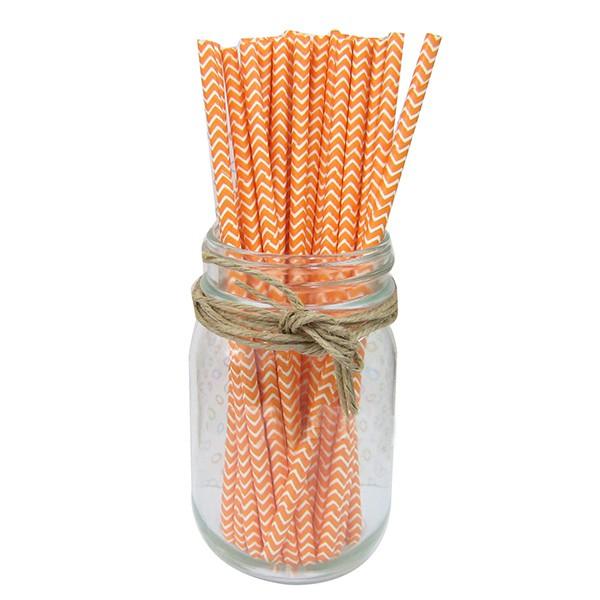 2 packs Paper Straws Birthday Wedding Baby Shower Party Stripes, Orange