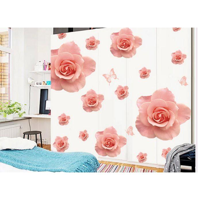 Decal dán tường Hoa hồng phấn size 60x90cm