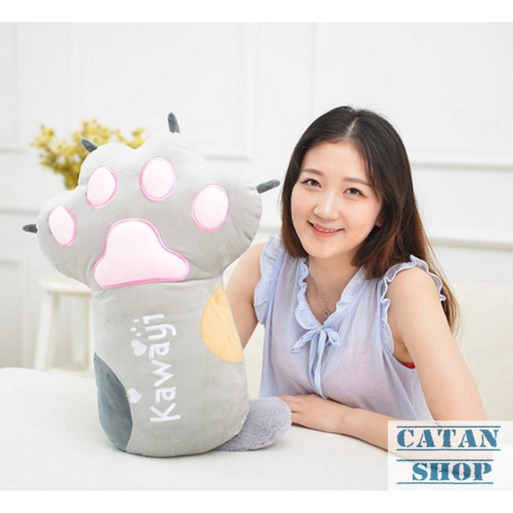 Gối mền CHÂN GẤU, bộ chăn gối văn phòng 3 trong 1 hàng loại 1, nỉ nhung siêu mịn, Gấu bông kèm mền móng mèo GD92-GMChan