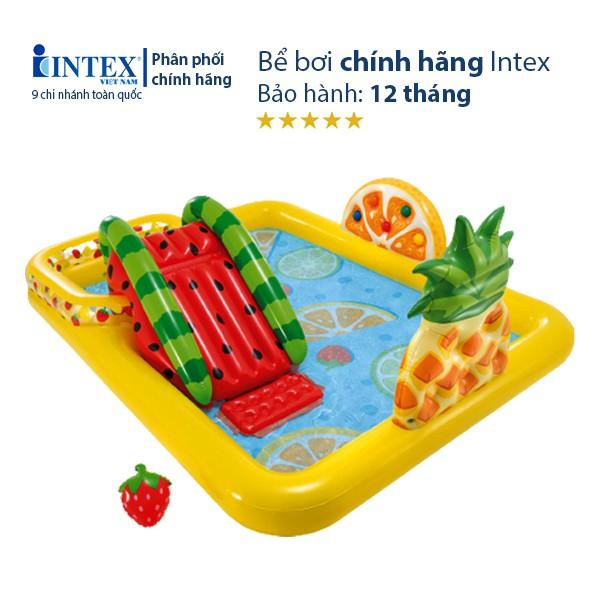Bể bơi cầu trượt CHÍNH HÃNG, nhiều trò chơi, sắc màu INTEX 57158