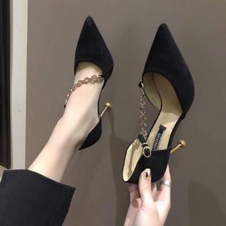 Giày cao gót mũi nhọn dây xích chéo Hàng quảng châu