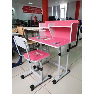 Bộ bàn ghế học sinh điều chỉnh độ cao Xuân Hòa màu Hồng BHS-13-06A