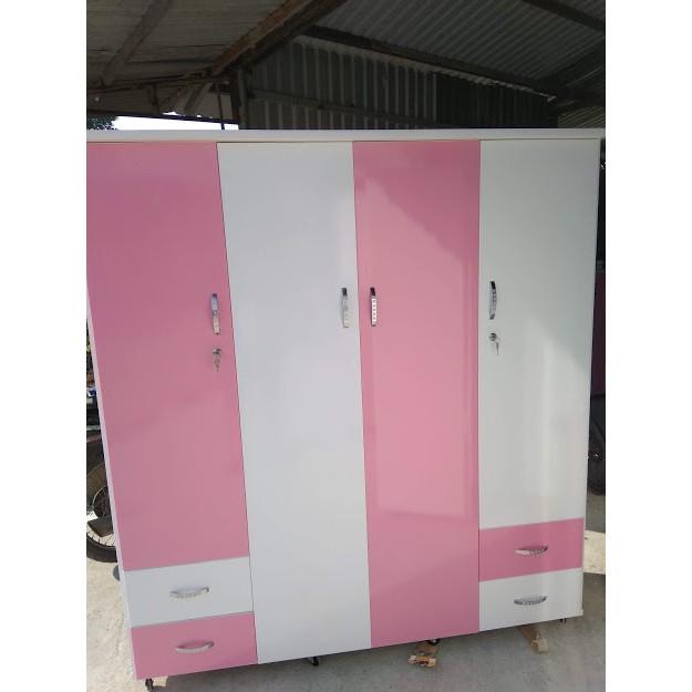 Tủ Nhựa Đài Loan 4 Cánh 4 Ngăn Kéo Màu Trắng Hồng (Mã: TNTH001)