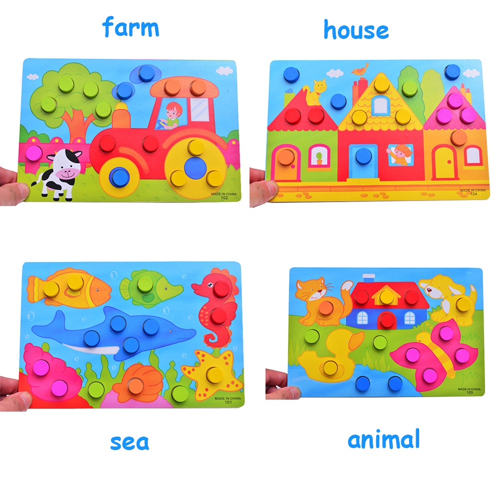 Sea Animal Kids Gifts Montessori Early Educational Learning Toys Wooden Puzzles