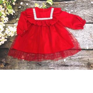 Đầm bé gái 💕𝑭𝑹𝑬𝑬𝑺𝑯𝑰𝑷⚡ Váy bé gái hàng thiết kế -  Thu đông đỏ phủ lưới đẹp cho bé