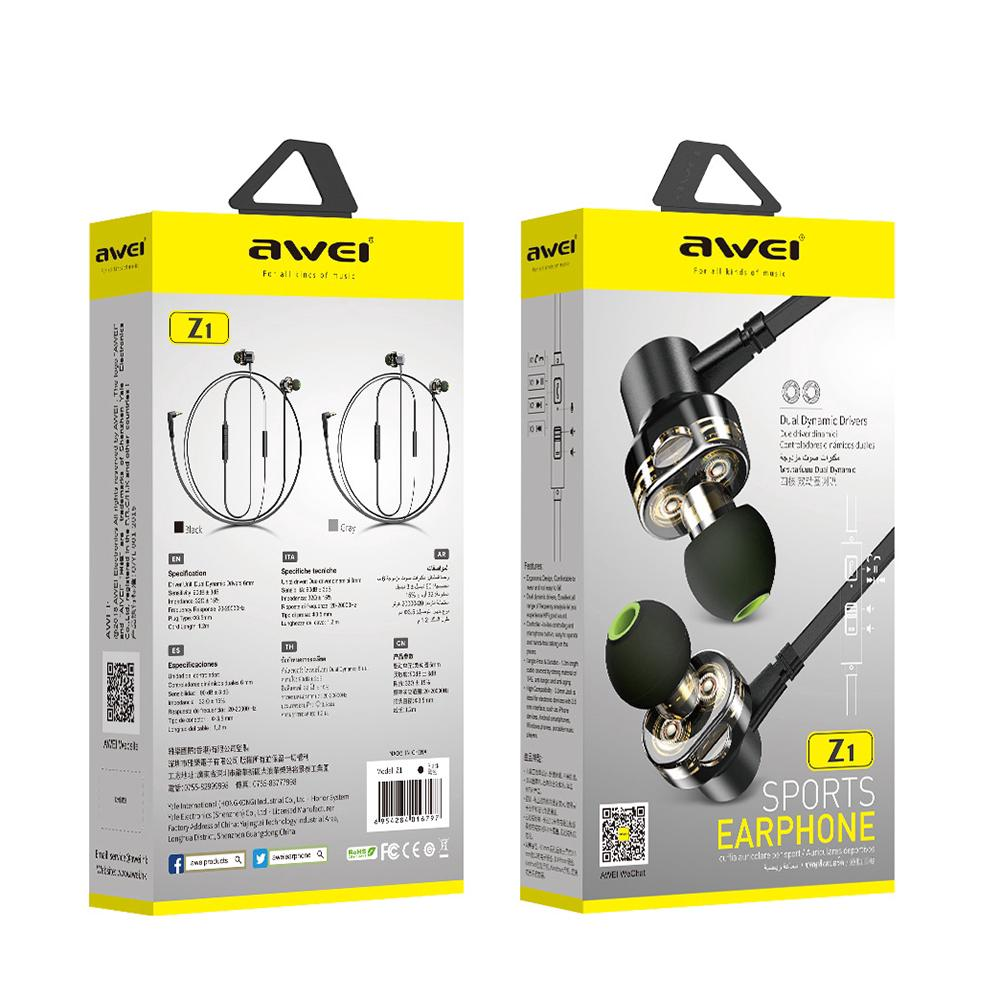 AWEI Z1 Wired Earphone Dual Driver Headset Sport Bass Sound