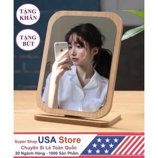 Yêu ThíchGương Khung Gỗ Hàn Quốc Để Bàn S2 + Tặng Khăn Lau + Tặng Bút Viết Gương