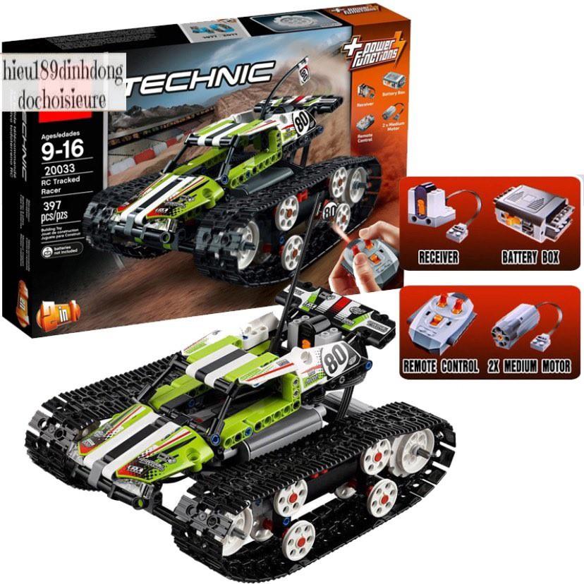 Lắp ráp xếp hình NOT Lego Technic 42065 Rc Tracked Racer, Lepin 20033 : Xe Ô Tô Đua Bánh Xích Điều Khiển Từ Xa 397 mảnh