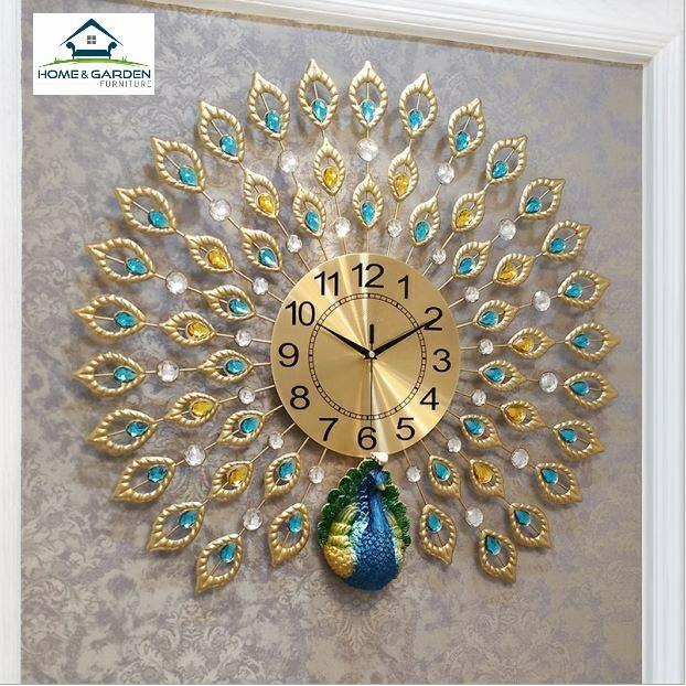 Đồng hồ treo tường trang trí con công xanh phong cách quý tộc Home and Garden