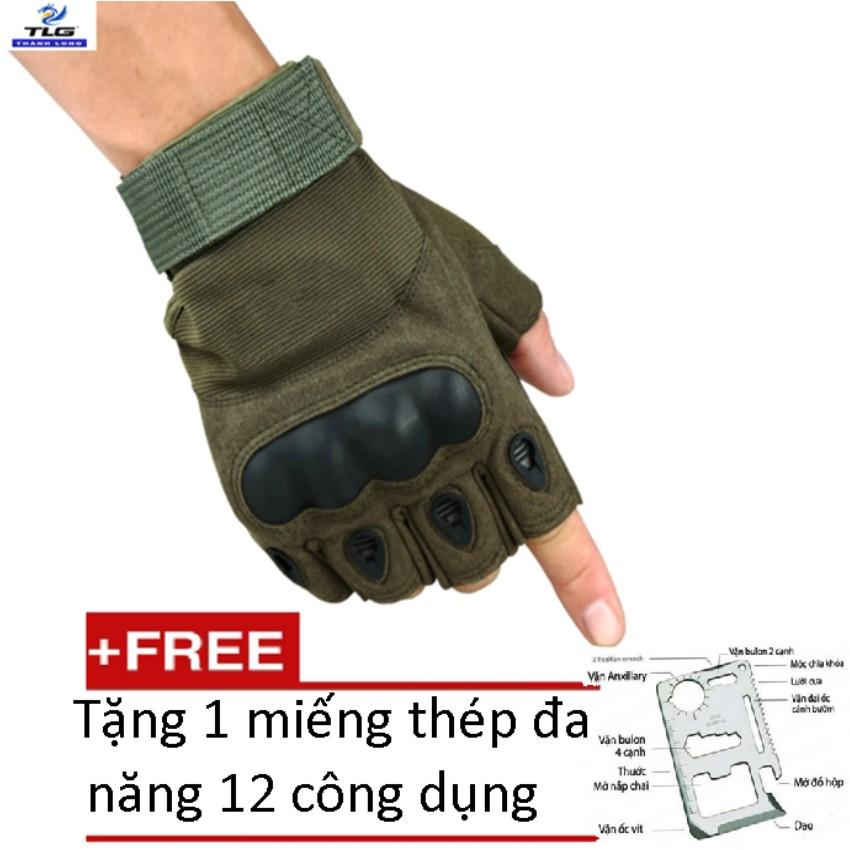 Găng tay hở ngón chiến thuật quân sự thể dục TI 215 1A (Xanh lính) tặng miếng thép đa năng 12 công