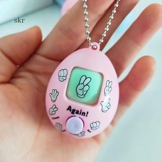 Rock Paper Scissors Funny Toy Keychain Egg Shaped Morra Game Hanging Key Holder