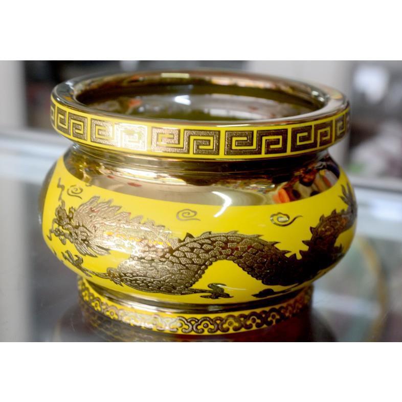 Lư hương thờ cúng rồng vàng 3D