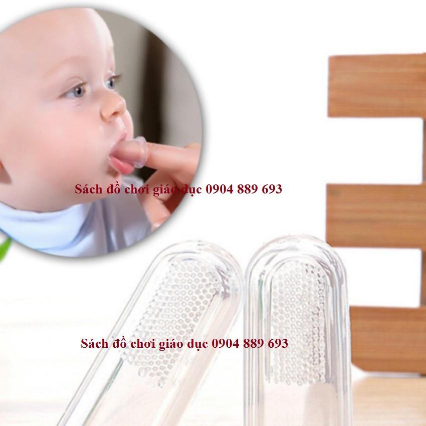 Bàn chải đánh răng, bàn chải đánh tưa lưỡi silicon xỏ ngón cho bé