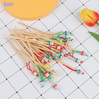 Sun1> 10Pcs Mini Doll Earpicks Wood Bamboo Ear Picks Wax Remover Cleaner Ear Care Tool