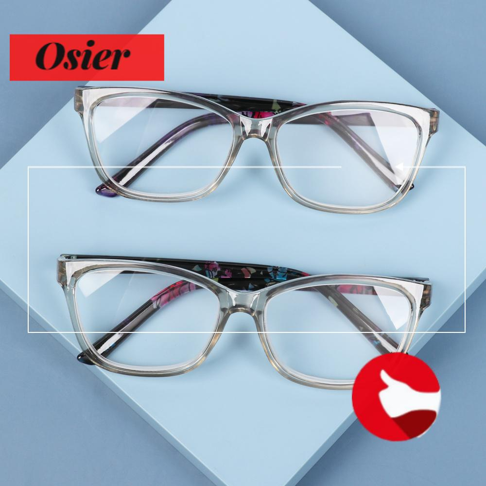 👒OSIER🍂 Portable Floral Reading Glasses Radiation Protection Spectacle Frames Presbyopia Eyeglasses With Diopters +1.0~+4.0 Ultralight PC Frame HD Resin Lens Anti Glare Eyewear