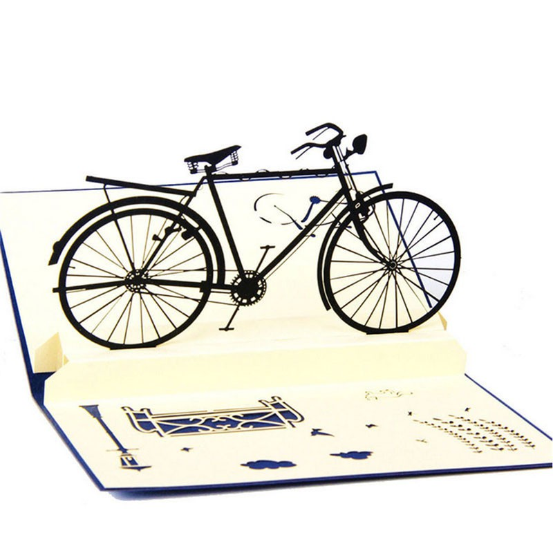 3D Pop Up Cards Handmade Bicycle Happy Birthday Thank You Christmas Halloween