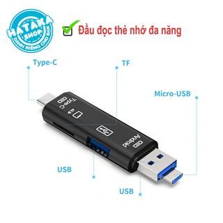 Đầu đọc thẻ nhớ đa năng dành cho điện thoại, máy tính, 3 cổng kết nối USB, MicroUSB, TYPE-C, 2 cổng dữ liệu USB, TF