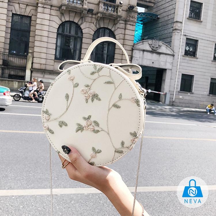 [SALE HOT] Túi hộp tròn đeo chéo thêu hoa siêu xinh NEVA8901