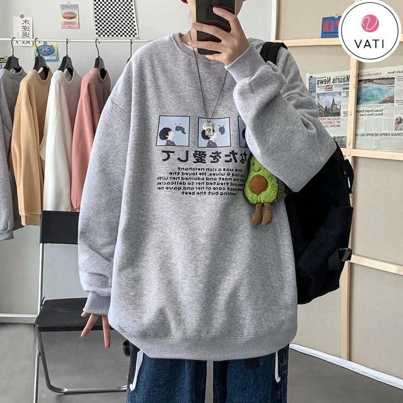 Áo Sweater Nam Nu Cổ Tròn Form Rộng, Áo sweater nỉ unisex S53